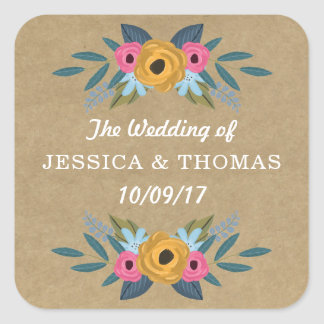 The Rustic Kraft Floral Wreath Wedding Collection Square Sticker