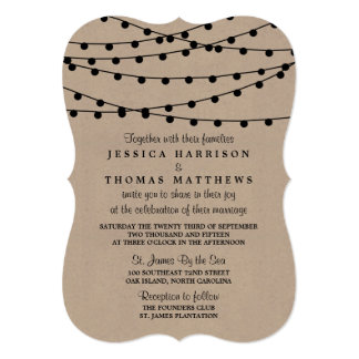 "The Rustic Kraft String Lights Wedding Collection 5"" X 7"" Invitation Card"