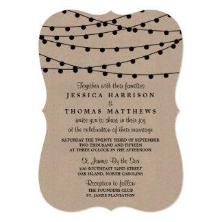 "The Rustic Kraft String Lights Wedding Collection 5"" X 7"" Invitation Card"