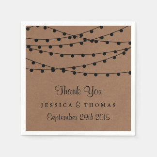 The Rustic Kraft String Lights Wedding Collection Disposable Napkins