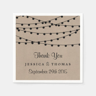 The Rustic Kraft String Lights Wedding Collection Paper Napkins
