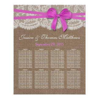 The Rustic Pink Bow Wedding Collection Seating Poster