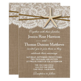 "The Rustic Starfish Beach Wedding Collection 5"" X 7"" Invitation Card"