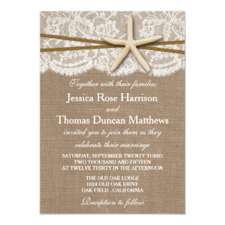 "The Rustic Starfish Beach Wedding Collection 5"" X 7"" Invitation Card"