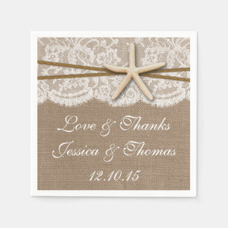 The Rustic Starfish Beach Wedding Collection Paper Napkins