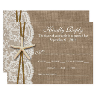 The Rustic Starfish Wedding Collection RSVP Card