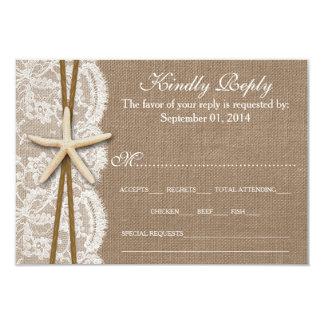 "The Rustic Starfish Wedding Collection RSVP 3.5"" X 5"" Invitation Card"