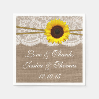 The Rustic Sunflower Wedding Collection Disposable Napkins