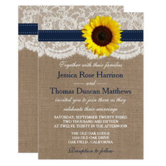 "The Rustic Sunflower Wedding Collection - Navy 5"" X 7"" Invitation Card"
