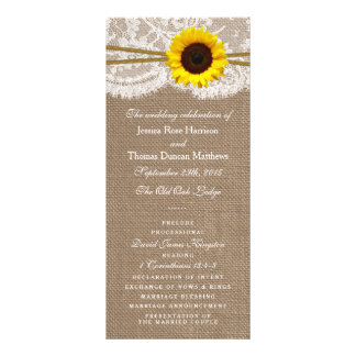 The Rustic Sunflower Wedding Collection Programs Rack Cards