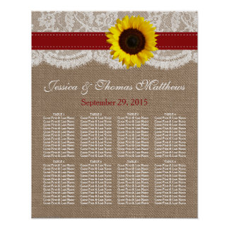The Rustic Sunflower Wedding Collection - Red Poster