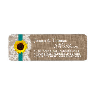 The Rustic Sunflower Wedding Collection - Teal Return Address Label