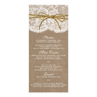 The Rustic Twine Bow Wedding Collection - Menu Customized Rack Card