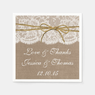 The Rustic Twine Bow Wedding Collection Paper Napkin