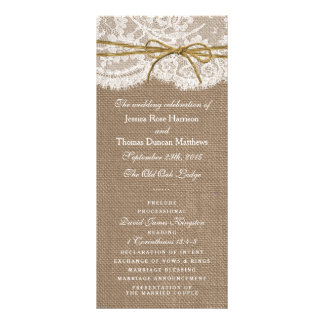 The Rustic Twine Bow Wedding Collection - Programs Rack Card