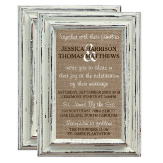The Rustic White Frame & Burlap Wedding Collection Card