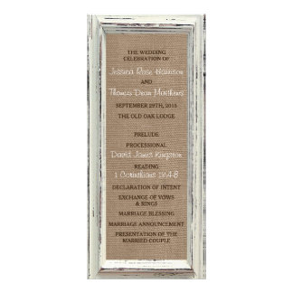 The Rustic White Frame & Burlap Wedding Collection Rack Card