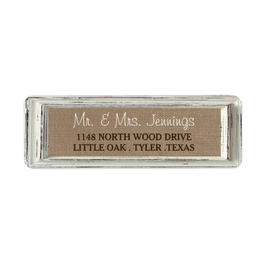 The Rustic White Frame & Burlap Wedding Collection Return Address Label