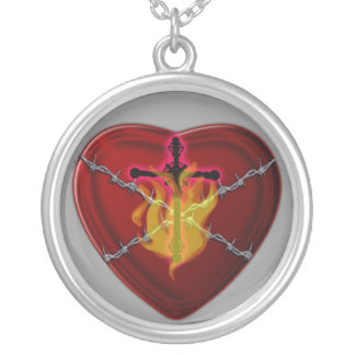 the sacred heart silver plated necklace