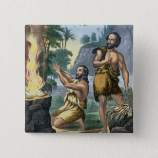 The Sacrifice of Cain and Abel, from a bible print 2 Inch Square Button