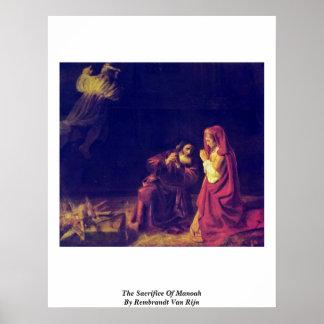 The Sacrifice Of Manoah By Rembrandt Van Rijn Poster
