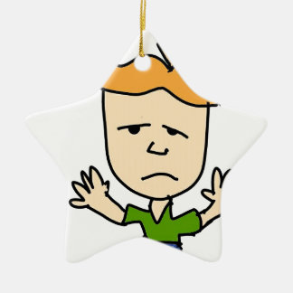 The sad boy ceramic star ornament