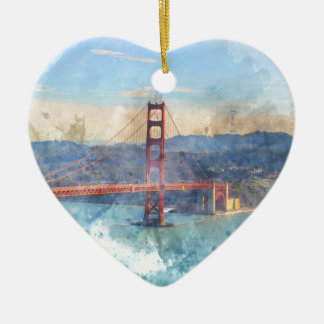 The San Francisco Golden Gate Bridge in California Ceramic Heart Ornament