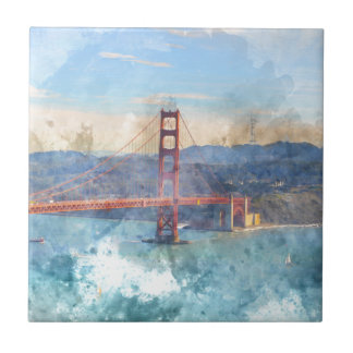 The San Francisco Golden Gate Bridge in California Ceramic Tiles
