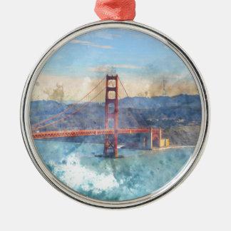 The San Francisco Golden Gate Bridge in California Silver-Colored Round Ornament