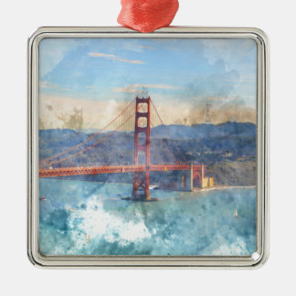 The San Francisco Golden Gate Bridge in California Silver-Colored Square Ornament