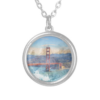 The San Francisco Golden Gate Bridge in California Silver Plated Necklace