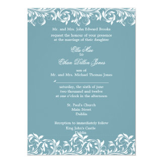 The Sarah Jane blue and  white wedding invitation