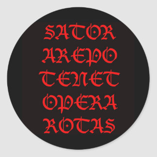 The Sator Square (Lucida blackletter) Classic Round Sticker