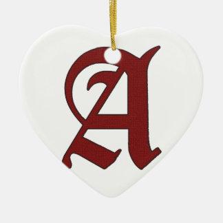 The Scarlet Letter Ceramic Heart Ornament