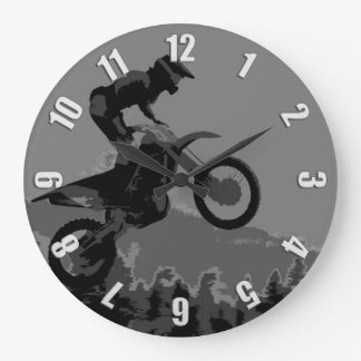 """The Scenic Route"" Motocross Racer Large Clock"