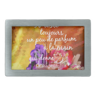 The scent of the roses still remains in the hand. belt buckle