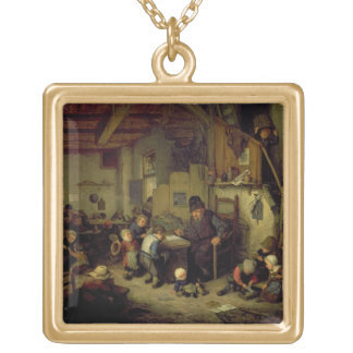 The School Master, c.1662 (oil on panel) Gold Plated Necklace