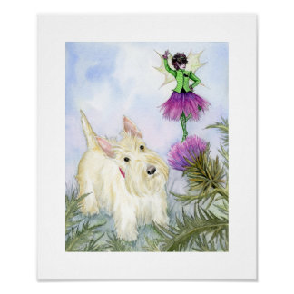 The Scottie and the thistle fairy Print