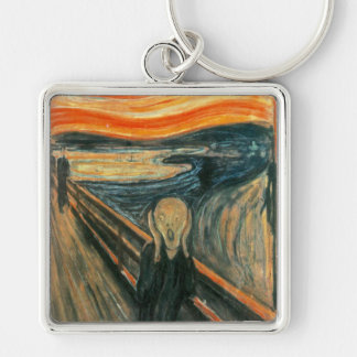 The Scream Edward Munch Screaming Silver-Colored Square Keychain