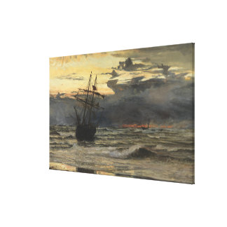The Sea-Beach after a Storm  Time, Dawn Canvas Print