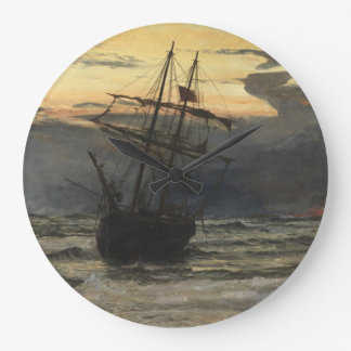 The Sea-Beach after a Storm  Time, Dawn Large Clock