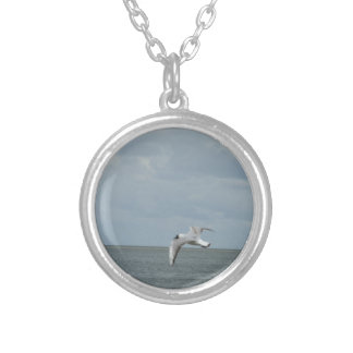 The sea gull and the sea silver plated necklace