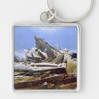 The Sea of Ice, Caspar David Friedrich Silver-Colored Square Keychain