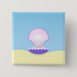 The Seashell 2 Inch Square Button
