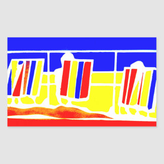 The Seaside And Sand Deckchairs Rectangle Sticker