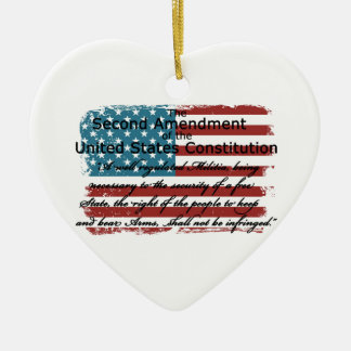 The Second Amendment Ceramic Heart Ornament
