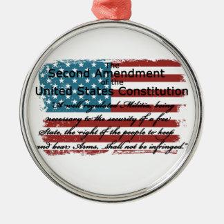 The Second Amendment Silver-Colored Round Ornament