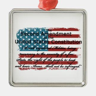 The Second Amendment Silver-Colored Square Ornament