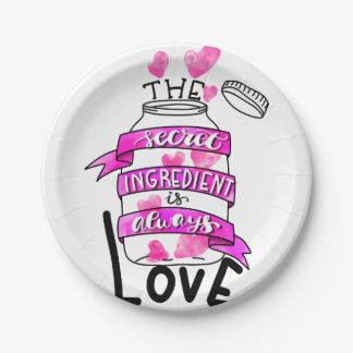 The secret ingredient is always love paper plate