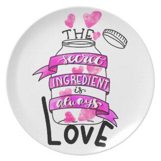 The secret ingredient is always love plate